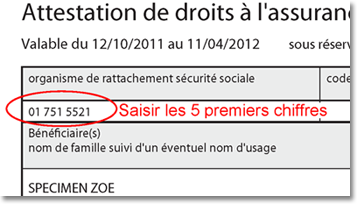 Code organisme d'affiliation - Attestation de droits